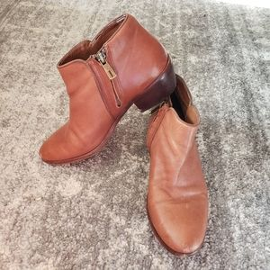 SAM EDELMAN ] brown ankle booties side zip sz 7.5